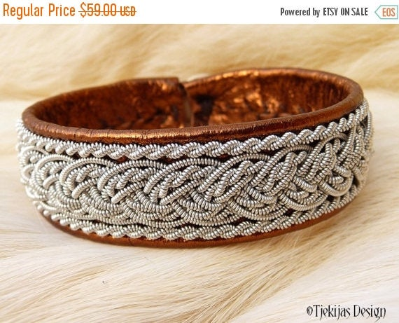 """Viking Sami Leather Bracelet Cuff GRANE size 16 cm / 6.3"""" - 20% off OUTLET ready to ship - Bronze Lambskin with braided Pewter Thread"""