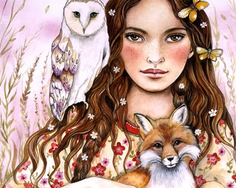 the owl, the fox and all the butterflies  art print