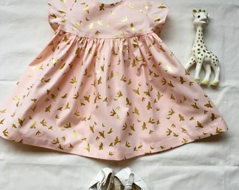 6MO. Blush Pink With Metallic Gold Birds Infant  Dress