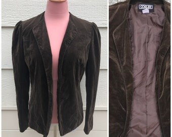 Dark chocolate brown velvet 70s jacket size medium
