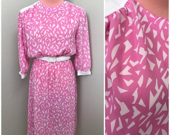 Lolly pink and white pattern 80s belted day dress size medium