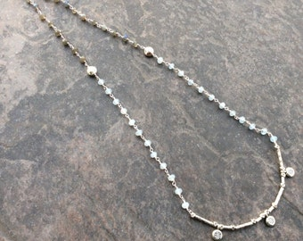 Extra Long Aquamarine and Labradorite Rosary Style necklace with Lois Hill Tribe style beads and Toggle clasp