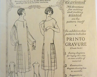 Vintage 20s Dress Pattern, McCall 3967, Dropped Waist Flapper Dress, Gatsby Dress, Printed Pattern, Long or Short Sleeves, Size 38 Bust 38