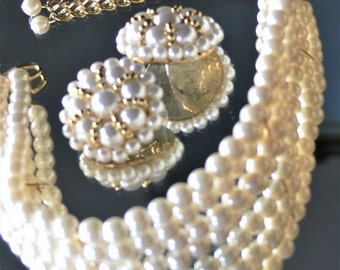 pearl necklace and post earrings