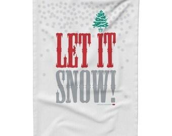 Winter Tea Towel, Gift Idea for Her, Holiday Season Tea Towel, Christmas Kitchen Linen, Christmas Dish Cloth, Let it Snow Tea Towel