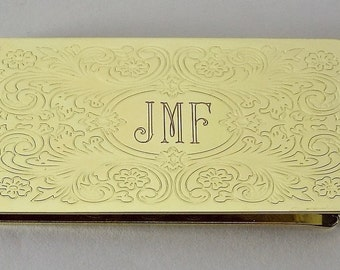 Custom Engraved Money Clip Personalized Gold Tone with Scroll Design  -Hand Engraved