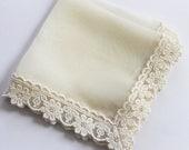 Silk wedding handkerchief Mother of the bride handkerchief Bride Handkerchief Lace handkerchief Wedding hanky Bridal shower gift Ivory Hanky
