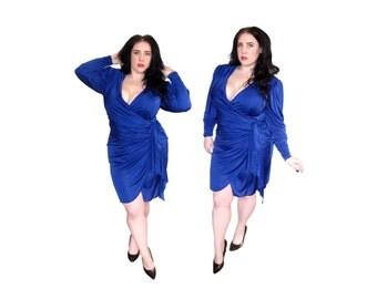Plus Size Dress / Vintage 1980's Royal Blue Wrap Dress / Size XL /Vintage Dress