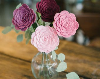 Single Stem Felt Ranunculus  ||  Multiple Colors Available