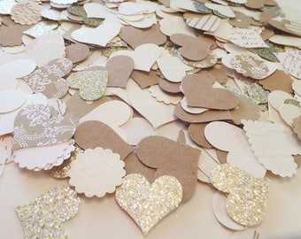 Summer Wedding HEART Confetti ~ 350 Neutral & Glitter Shapes ~ Baby Showers ~ Birthday ~ Wedding Romantic Table Scatter