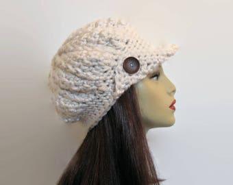 Cream Slouchy Newsboy Cap Adult Newsboy Beige Tam Cream Hat with Visor Slouchy cream hat with visor Knit cream Womens Newsboy with Buttons