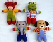 Cow, elephant, frog, dog - 4 toy animal doll knitting patterns - PDF INSTANT DOWNLOAD