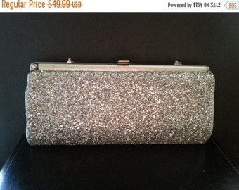 Christmas Sale Vintage Silver Purse Sparkly Glitter 1960''s Collectible Clutch Mad Men Mod Hollywood Regency Mid Century Handbag