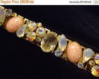 "Vintage Pastel Opalescent Colored Rhinestone Bracelet Chunky Wide Bracelet 1950's Mid Century Goldtone Jewelry 7"""