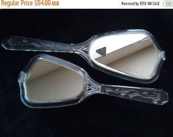 Now On Sale Vintage 40's 50's Vanity Lucite Mirror & Brush Set Mid Century Modern Retro Home Decor New Old Stock