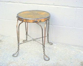 Steampunk Industrial Metal Stool End Table Stand - Distressed Urban Decor - Wood Top - Twisted Wire Legs - American Retro - Plant Holder