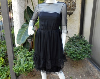 Vintage 1960's Black Chiffon & Lace Dress - Size 8