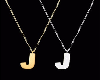 tiny J necklace, custom tiny initial necklace with matte letter pendant charm, birthday gift, graduation gift, letter j charm
