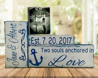 Nautical wedding gift for couple bridal shower gift husband gift wife gift bride gift groom gift nautical anchor beach art mr and mrs sign
