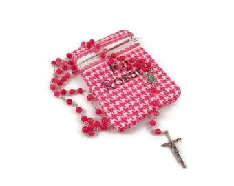 Pink Quartzite Rosary and Pink Hounds tooth Rosary Pouch