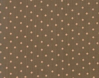 15% off thru May1st COURTYARD sm pink diamond on brown cotton print by the 1/2 yard 3 Sisters Moda fabric 44127 19