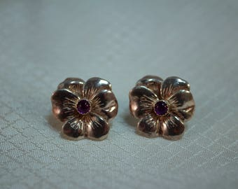 Artisan Sterling Pansy Earrings with Amethyst Centers