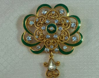 Stunning Florenza Green Enameled Russian Imperialist Styled Brooch