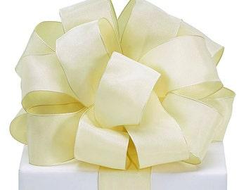 "5YDS Ivory Cream Taffeta 1-1/2"" Wired Edge Ribbon (FREE SHIPPING!)"