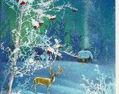 Deer, New Year, Vintage Russian Postcard, Christmas, Winter, print 1985