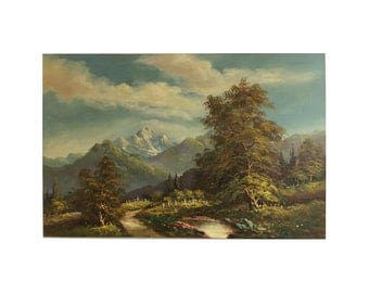 Vintage Oil Landscape Painting Mountains Trees Stream Original Framed green blue natural colors