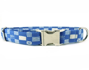 Grids in Blue Dog Collar
