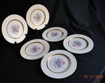 Set of  6 - Vintage Haviland Gainsborough ( New York) Salad Plates with Gold Trim