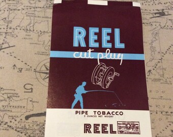 Reel Cut Plug tobacco wrapper fisherman graphic 1930s vintage