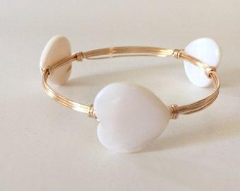 White Shell Heart Wire Wrapped Bangle Bracelet