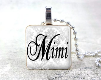Mimi Pendant Charm - Black and White Elegant Wood Pendant for Mother's Day - Grandchildren Gift for Mimi - Grandma Necklace