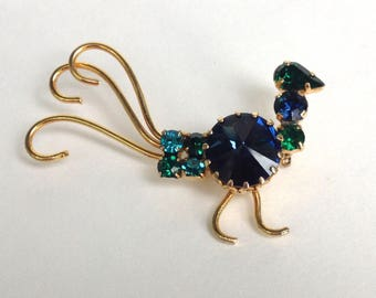 Rhinestone bird brooch Juliana style