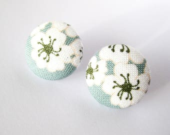 Floral fabric covered button earrings in light blue, green and white, stud earrings