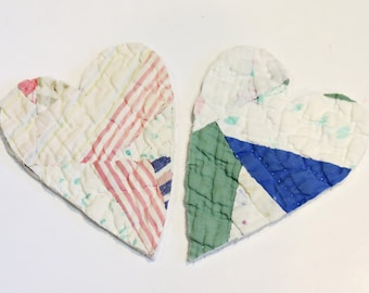 Shabby Heart Appliques, Prim Patchwork Feedsack Large Heart Cutouts, Embellishments 4 Crafting, Upcycled Vintage Cutter Quilt itsyourcountry