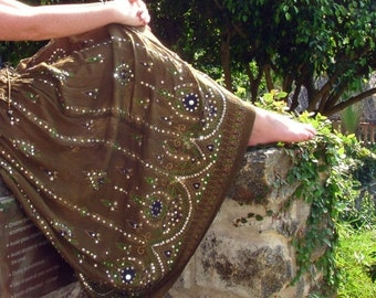 ON SALE Maxi Skirt: Olive Green Gypsy Skirt, Long Sequin Skirt, Boho Indian Peasant Skirt, Bohemian Festival Clothing, Bollywood Belly Dance