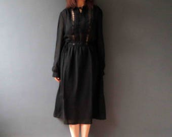 Vintage 70s Black Boho Dress with Lace Bib Small