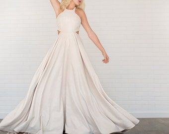 Fawn Faux Suede Wedding Dress //Suede Circle Skirt/Cut Outs/Button Razor Back