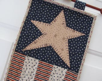 Quilted Door Hanger/Table Topper Red White and Blue Stars & Stripes Civil War Colors Americana Decor 4th of July Patriotic Free Wood Hanger
