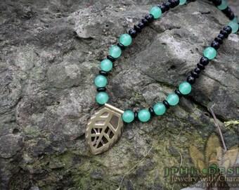 Tribal Beaded Brass Leaf Necklace