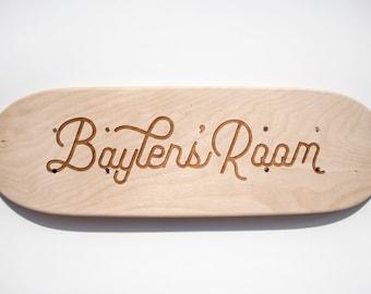 Skateboard, Laser cut custom text, baby gift, skateboard art, room decor custom