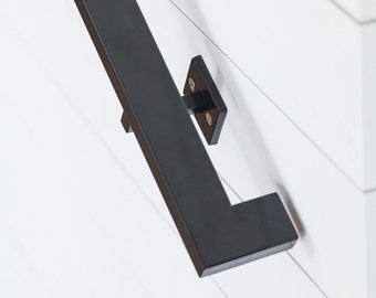 13' Modern Handrail (5 brackets) - Tube Steel hand rail wall rail stair step railing wall mount