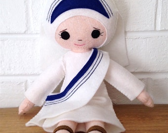 Catholic Saint Felt Doll - Mother Teresa - Wool Felt Blend- Catholic Toy