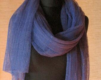 Linen Scarf Shawl Wrap Stole Violet Purple Blue Transparent