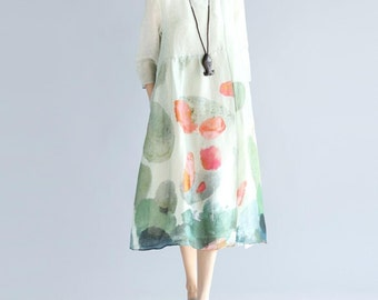 women printing Round collar double long dress  light green Maxi Dress