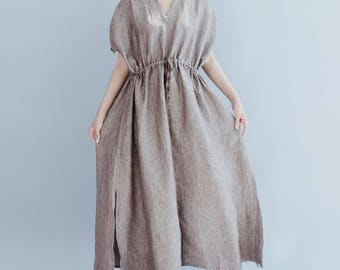 Women Oversize dress Linen waist drawstring dress Leisure maxi dress In coffee color