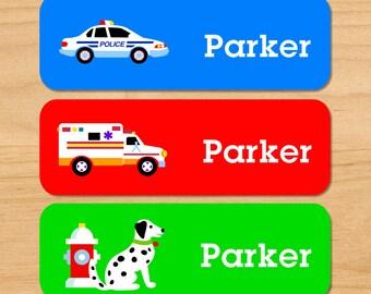 Kids Heroes Waterproof Name Labels, Personalized Firetruck Labels, Cop Car Baby Bottle Labels, EMT Ambulance Daycare Labels, Dishwasher Safe